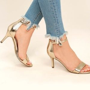 Champagne Ankle Strap Heels